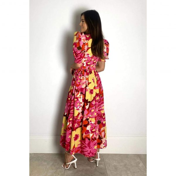Ruth Yellow Floral Midi Dress