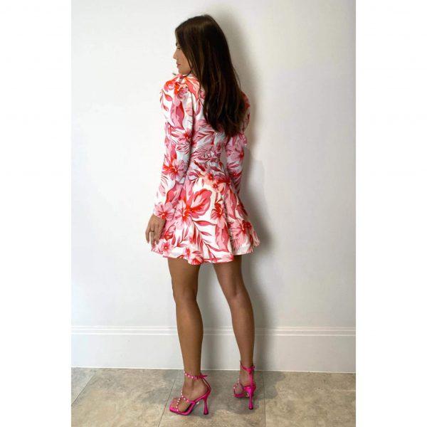 Rosalee Pink Floral Skater Dress