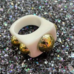 White Acrylic Ring with Gold Studs