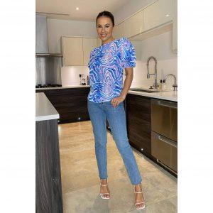 Kasia Puff Sleeve Blue Zebra Blouse