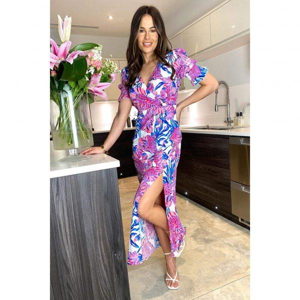 Harlee Lilac Floral Midi Dress