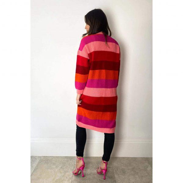 Bright Lights Stripe Cardigan Red Mix