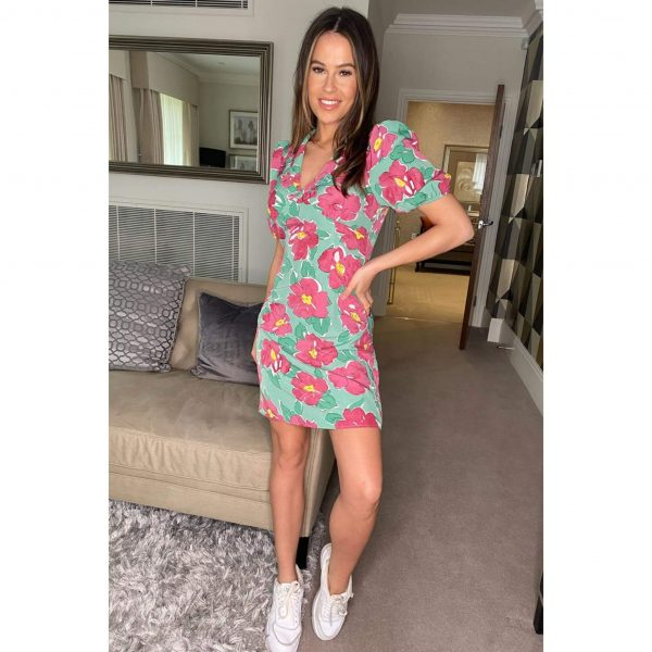 Mila Green and Pink Floral Mini Dress