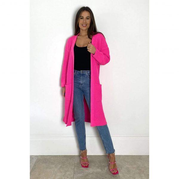 Miami Nights Pocket Cardigan Hot Pink