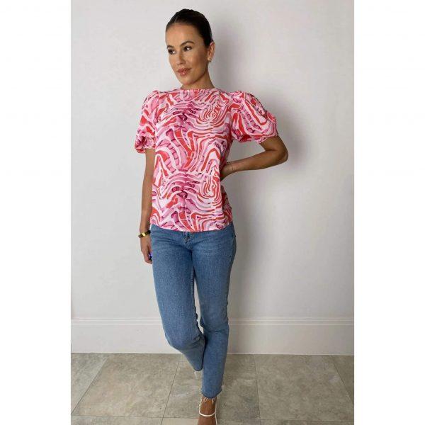 Kasia Puff Sleeve Pink Zebra Blouse