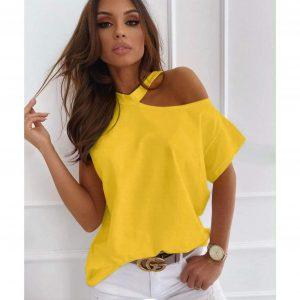 Yellow Cut Out Shoulder T-shirt