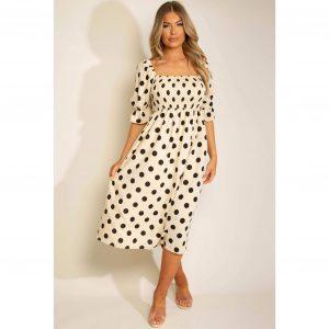 Cream Polka Dot Square Neck Dress