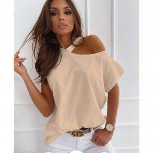 Beige Cut Out Shoulder T-shirt