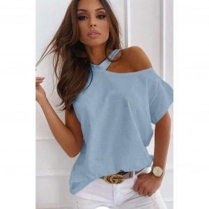 Blue Cut Out Shoulder T-shirt