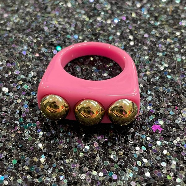 Pink Acrylic Ring with Gold Studs