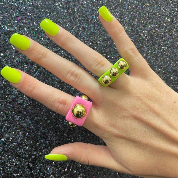 Acrylic Studded Rings