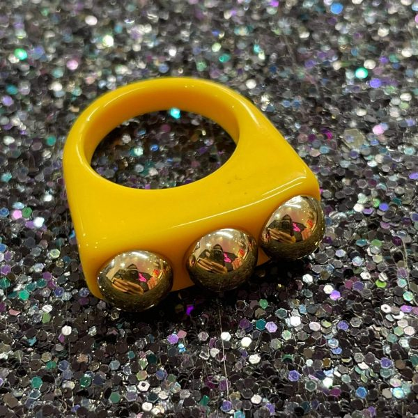 Yellow Acrylic Ring with Gold Studs