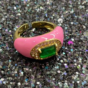Pink and Green Stone Adjustable Ring