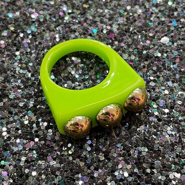 Green Acrylic Ring with Gold Studs