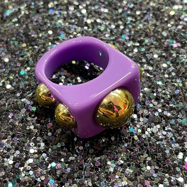 Purple Acrylic Ring with Gold Studs
