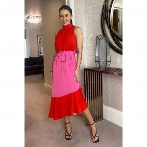 Paloma Tie Neck Midi Red & Pink