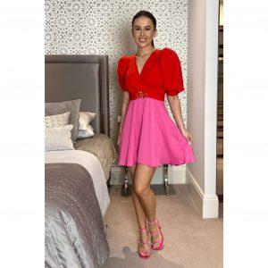 Elise Puff Sleeve Skater Dress Red & Pink