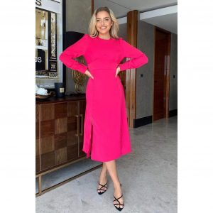 Cass Long Sleeve Midi in Pink