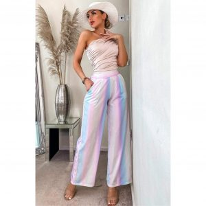 Rainbow Ombre Wide Leg Trousers