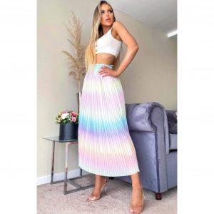 Pleated Rainbow Midi Skirt