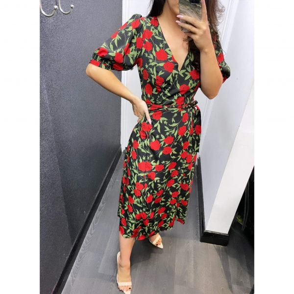 Black and Red Rose Print Wrap Dress