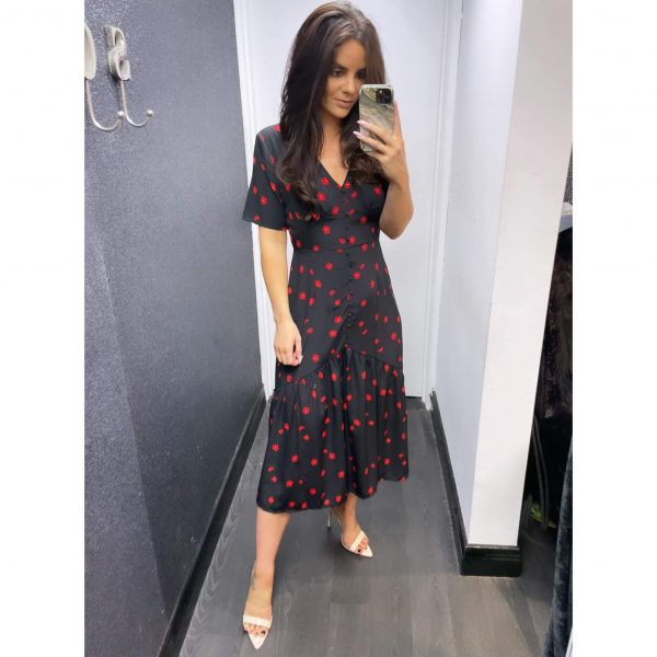 Black and Red Floral Ditsy Midi Dress