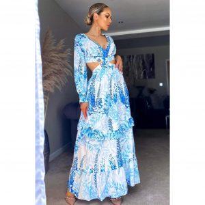 Blue Floral Cut Out Maxi Dress
