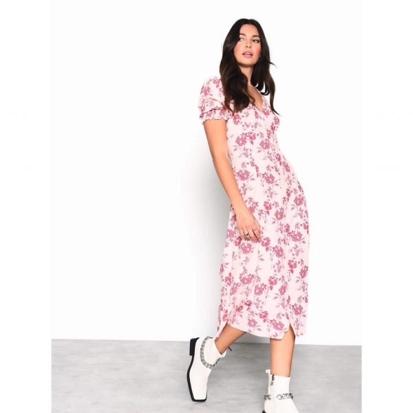 Peach and Pink Floral Midi Dress