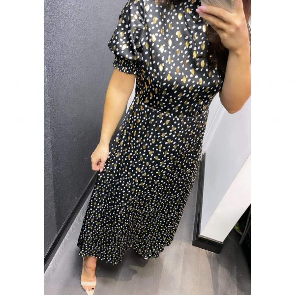 Black and Gold Metalllic Midi Dress