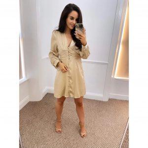 Gold Satin Leopard Print Button Dress