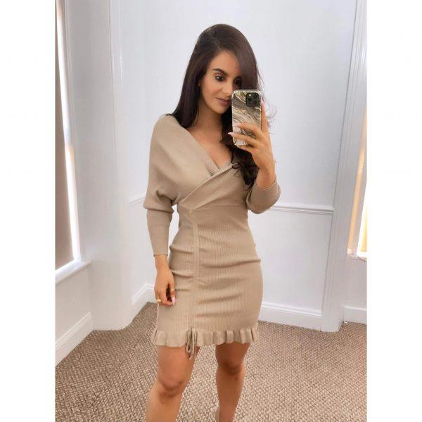 Beige Knit Ruched Mini Dress