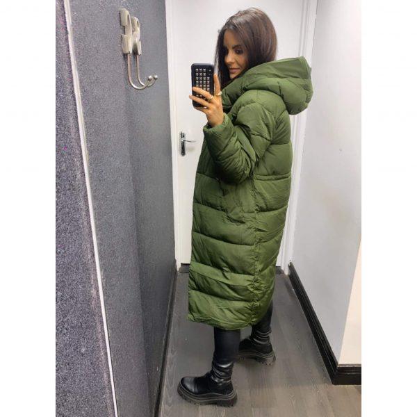 Khaki Longline Hooded Puffa Coat