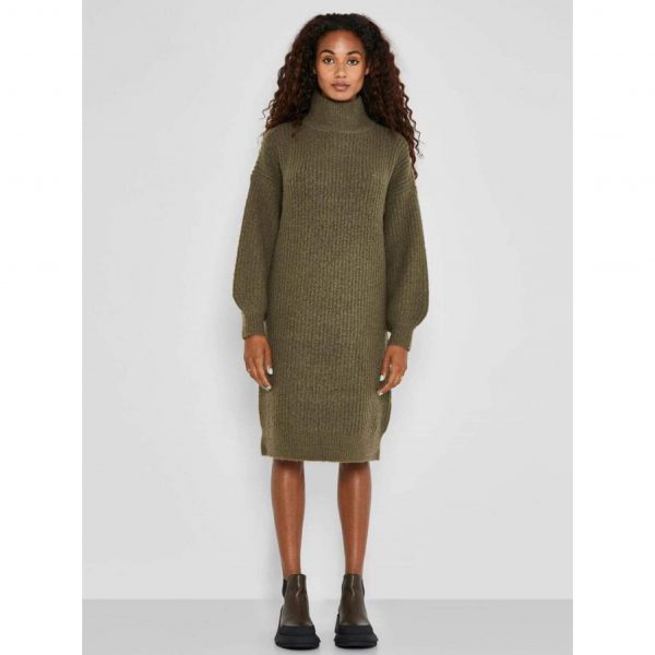 Robina Khaki Poloneck Knit Jumper Dress