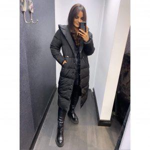 Black Longline Hooded Puffa Coat