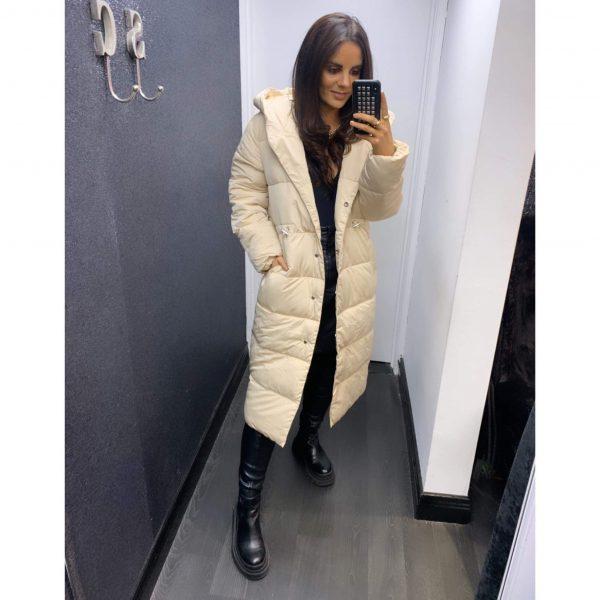 Cream Longline Hooded Puffa Coat