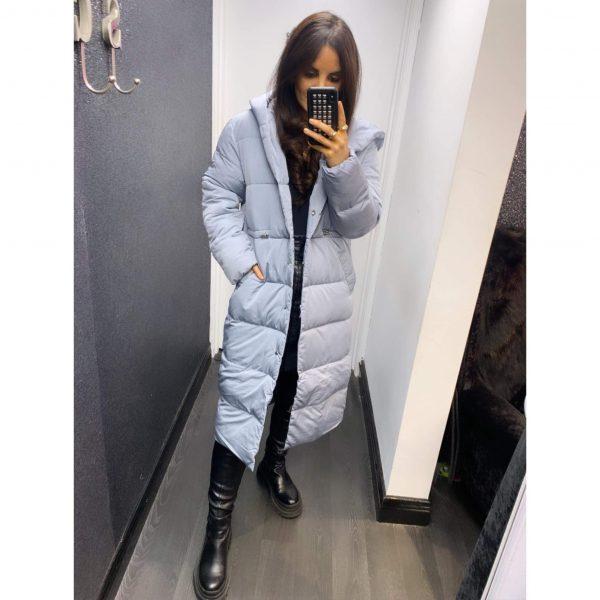 Blue Longline Hooded Puffa Coat