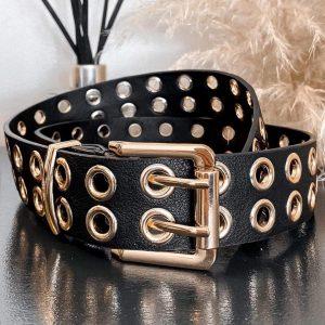 Black and Gold Eyelet Belt
