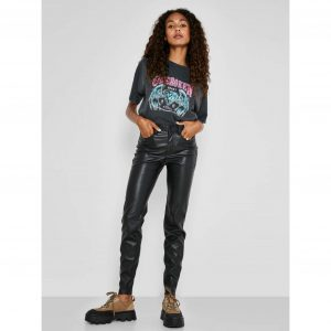 Noisy May Leather Look Callie Jeans
