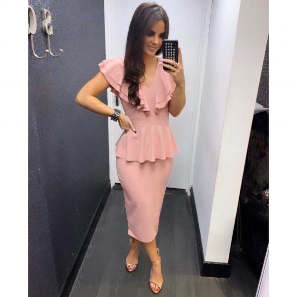 Pink Peplum Frill Midi Dress