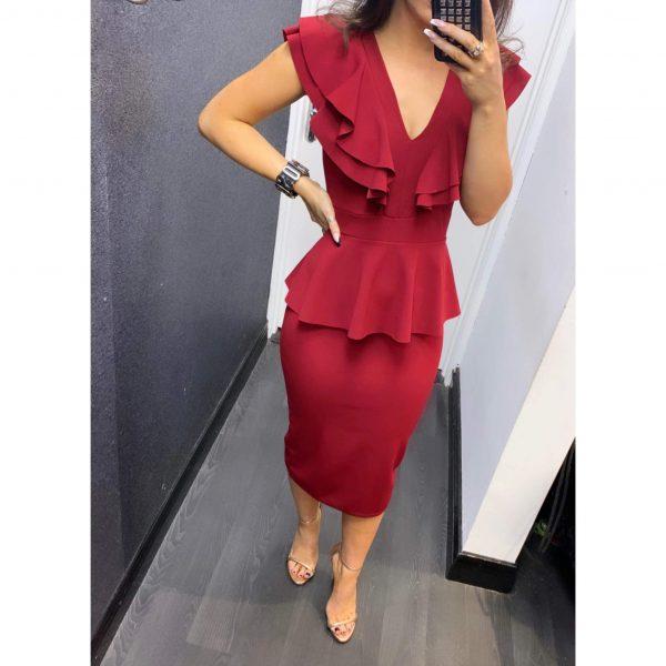 Burgundy Peplum Frill Midi Dress