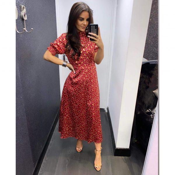 Red and Gold Metallic Midi Dress