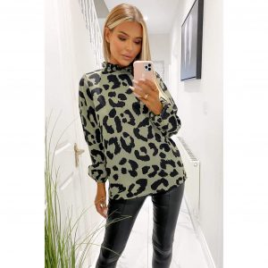 Khaki Leopard Blouse