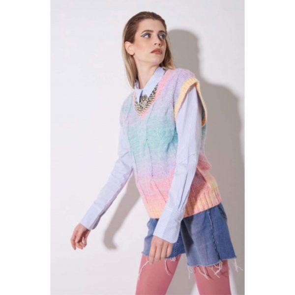 Rainbow Knit Sweater Vest
