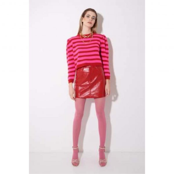 Pink and Red Stripe Knit Jumper