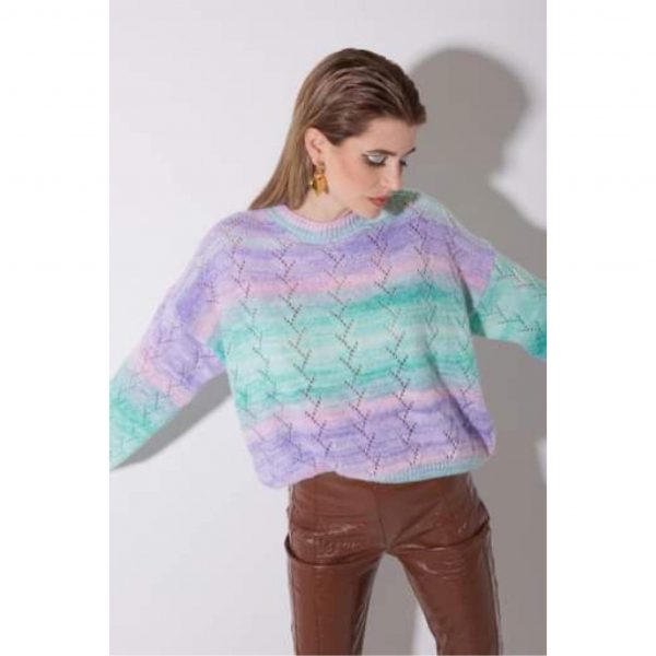 Green and Lilac Ombre Knit Sweater