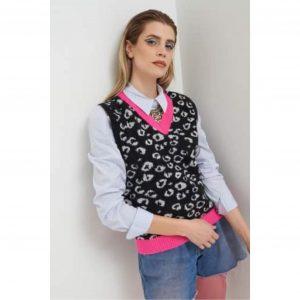 Black & White Leopard Vest with Neon Pink Trim