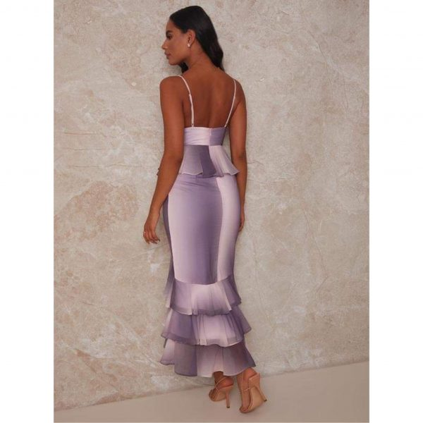Lilac and Pink Ombre Cami Strap Ruffle Detail Dress