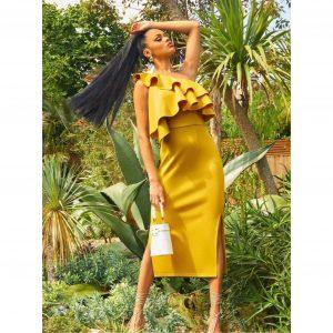 Mustard One Shoulder Ruffle Detail Dress
