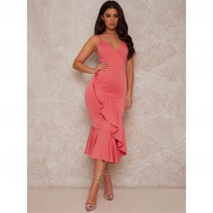 Coral Bodycon Dress with Ruffle Design