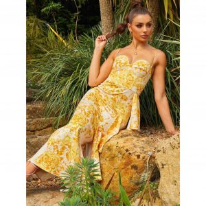Mustard Floral Print Corset Detail Maxi Dress